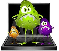 Virus Standing On Laptop